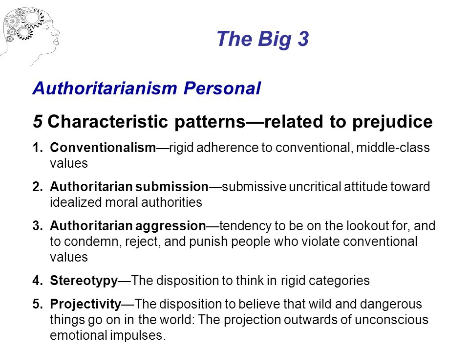 The Big 3 Authoritarianism Personal 5 Characteristic patterns—related to prejudice 1.Conventionalism—rigid adherence to conventional, middle-class values 2.Authoritarian submission—submissive uncritical attitude toward idealized moral authorities 3.Authoritarian aggression—tendency to be on the lookout for, and to condemn, reject, and punish people who violate conventional values 4.Stereotypy—The disposition to think in rigid categories 5.Projectivity—The disposition to believe that wild and dangerous things go on in the world: The projection outwards of unconscious emotional impulses.