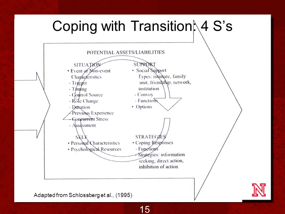 Coping with Transition: 4 S's Adapted from Schlossberg et al., (1995) 15