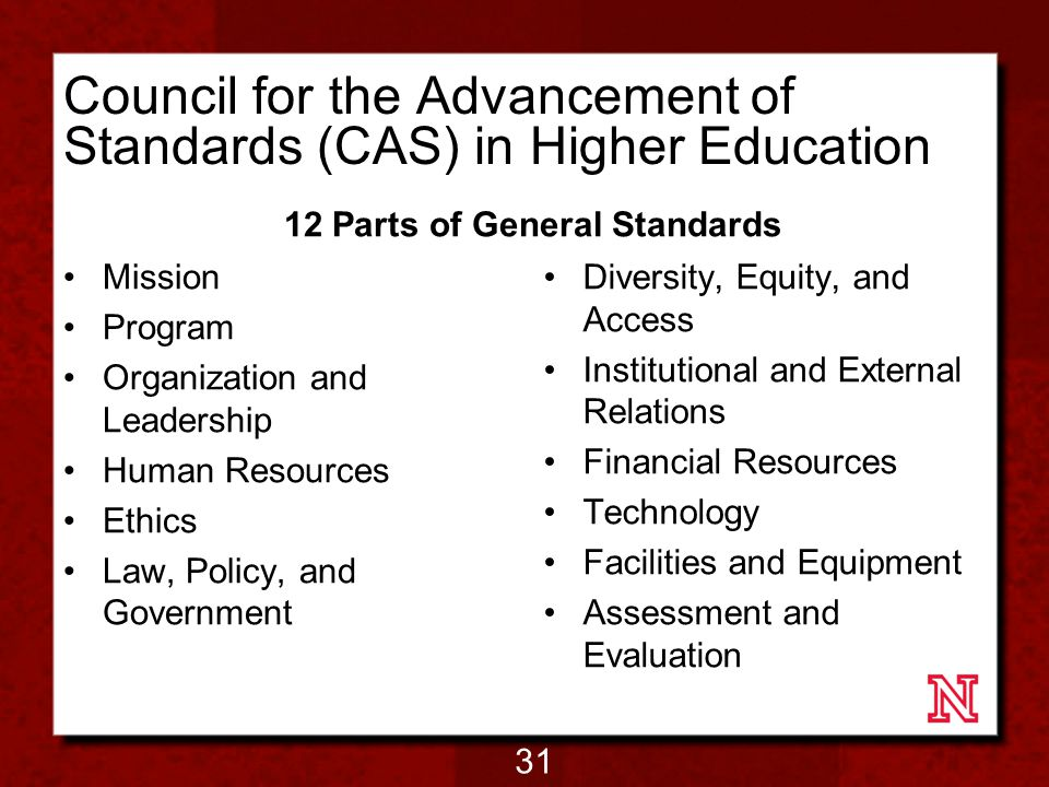 Council for the Advancement of Standards (CAS) in Higher Education Mission Program Organization and Leadership Human Resources Ethics Law, Policy, and Government 12 Parts of General Standards Diversity, Equity, and Access Institutional and External Relations Financial Resources Technology Facilities and Equipment Assessment and Evaluation 31