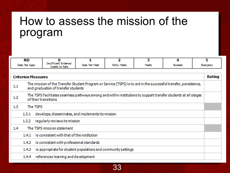 How to assess the mission of the program 33