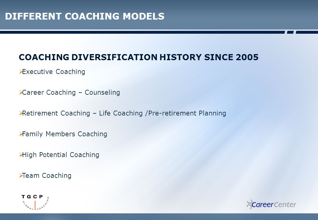 COACHING DIVERSIFICATION HISTORY SINCE 2005  Executive Coaching  Career Coaching – Counseling  Retirement Coaching – Life Coaching /Pre-retirement Planning  Family Members Coaching  High Potential Coaching  Team Coaching DIFFERENT COACHING MODELS