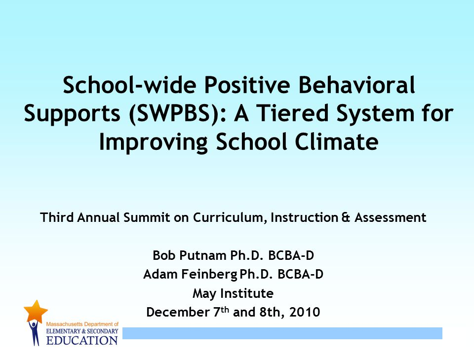 12 Six Components of SWPBS – Tier 1 at the School Level Statement of purpose (Common approach to discipline) Clearly defined expected behavior Procedures for teaching expected behavior Continuum of procedures for encouraging expected behavior Continuum of procedures for discouraging problem behaviors Procedures for record-keeping and decision making