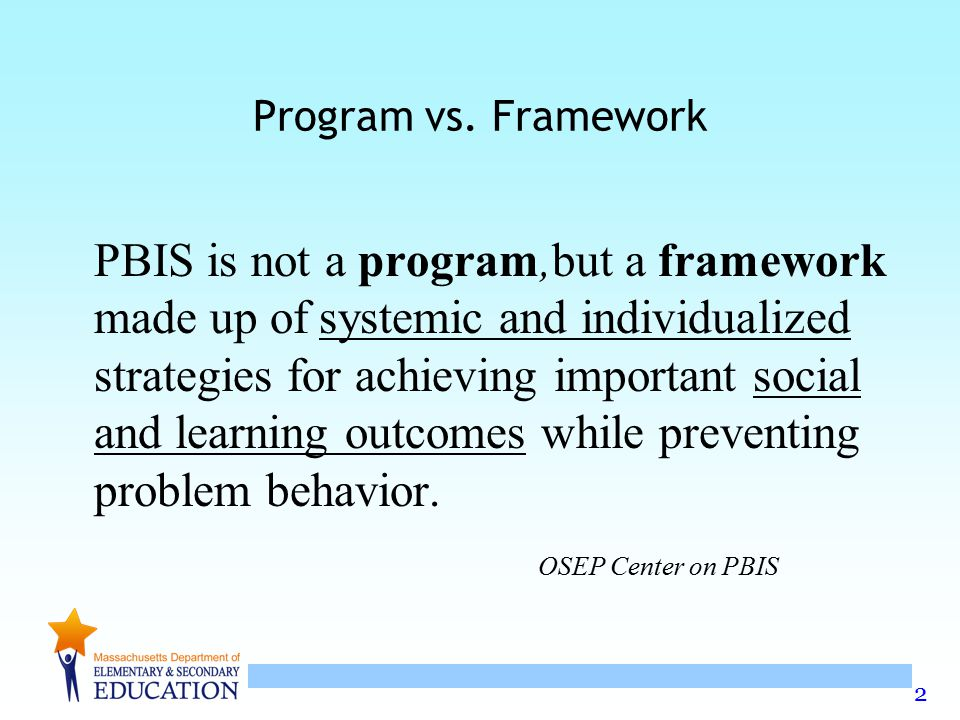 3 SWPBS is Framework for enhancing adoption & implementation of Continuum of evidence- based interventions to achieve Academically & behaviorally important outcomes for All students