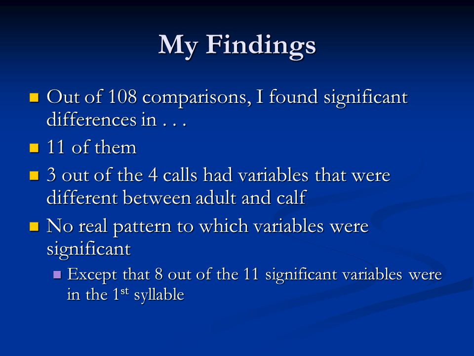 My Findings Out of 108 comparisons, I found significant differences in... Out of 108 comparisons, I found significant differences in... 11 of them 11