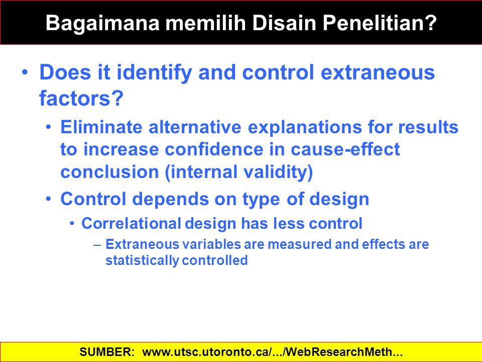 Bagaimana memilih Disain Penelitian? Does it identify and control extraneous factors? Eliminate alternative explanations for results to increase confi