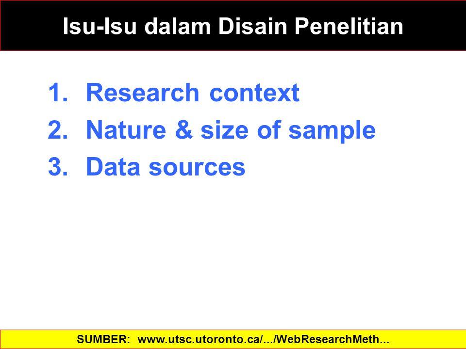 1.Research context 2.Nature & size of sample 3.Data sources SUMBER: www.utsc.utoronto.ca/.../WebResearchMeth... Isu-Isu dalam Disain Penelitian