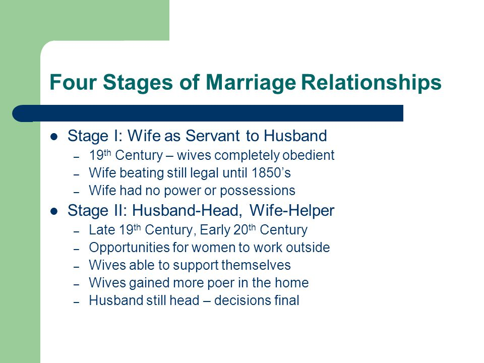 Four Stages of Marriage Relationships Stage I: Wife as Servant to Husband – 19 th Century – wives completely obedient – Wife beating still legal until
