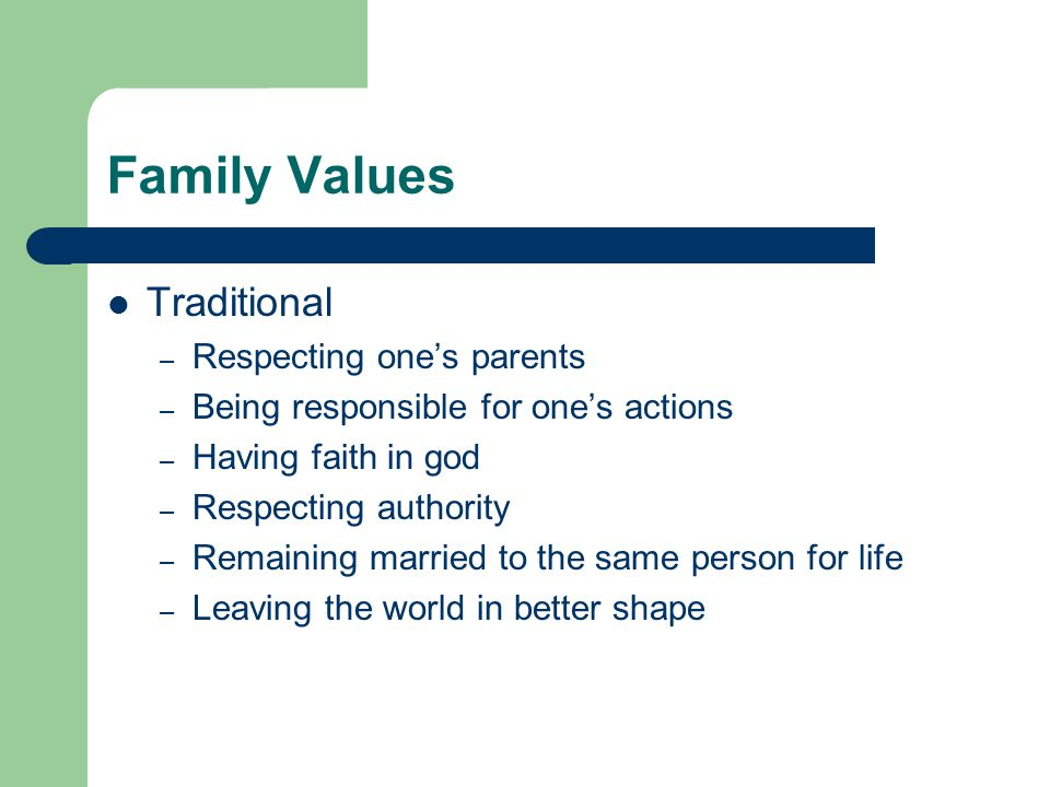 Family Values Traditional – Respecting one's parents – Being responsible for one's actions – Having faith in god – Respecting authority – Remaining ma