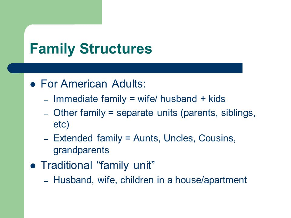 Family Structures For American Adults: – Immediate family = wife/ husband + kids – Other family = separate units (parents, siblings, etc) – Extended f