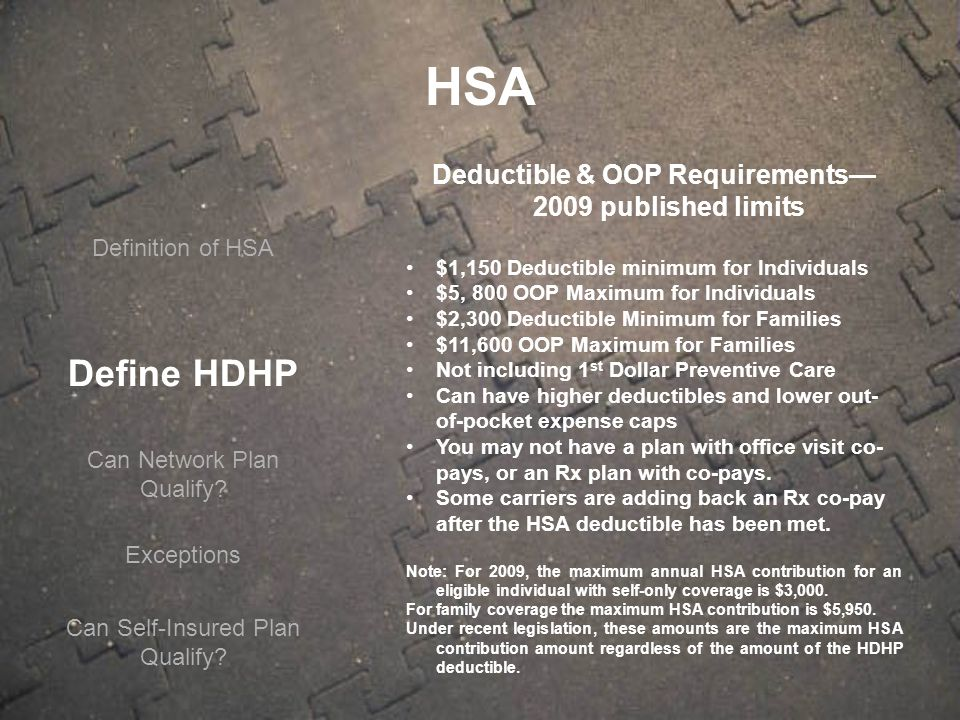 Define HDHP Can Network Plan Qualify.