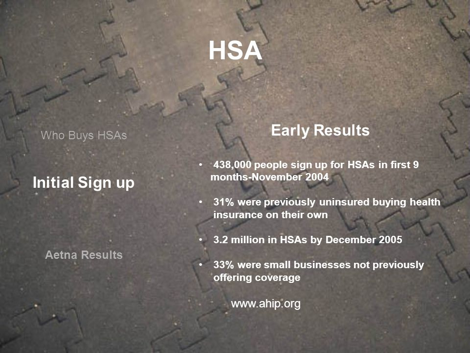 Who Buys HSAs Aetna Results Early Results 438,000 people sign up for HSAs in first 9 months-November 2004 31% were previously uninsured buying health insurance on their own 3.2 million in HSAs by December 2005 33% were small businesses not previously offering coverage www.ahip.org HSA Initial Sign up