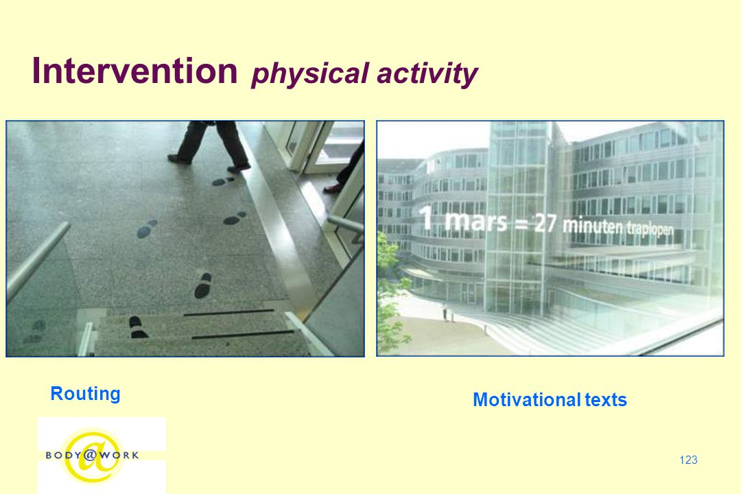 123 Routing Motivational texts Intervention physical activity