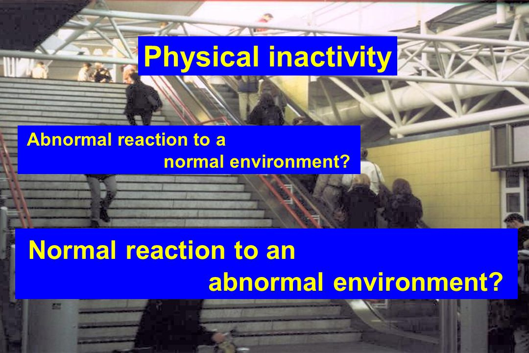 85 Physical inactivity Abnormal reaction to a normal environment.