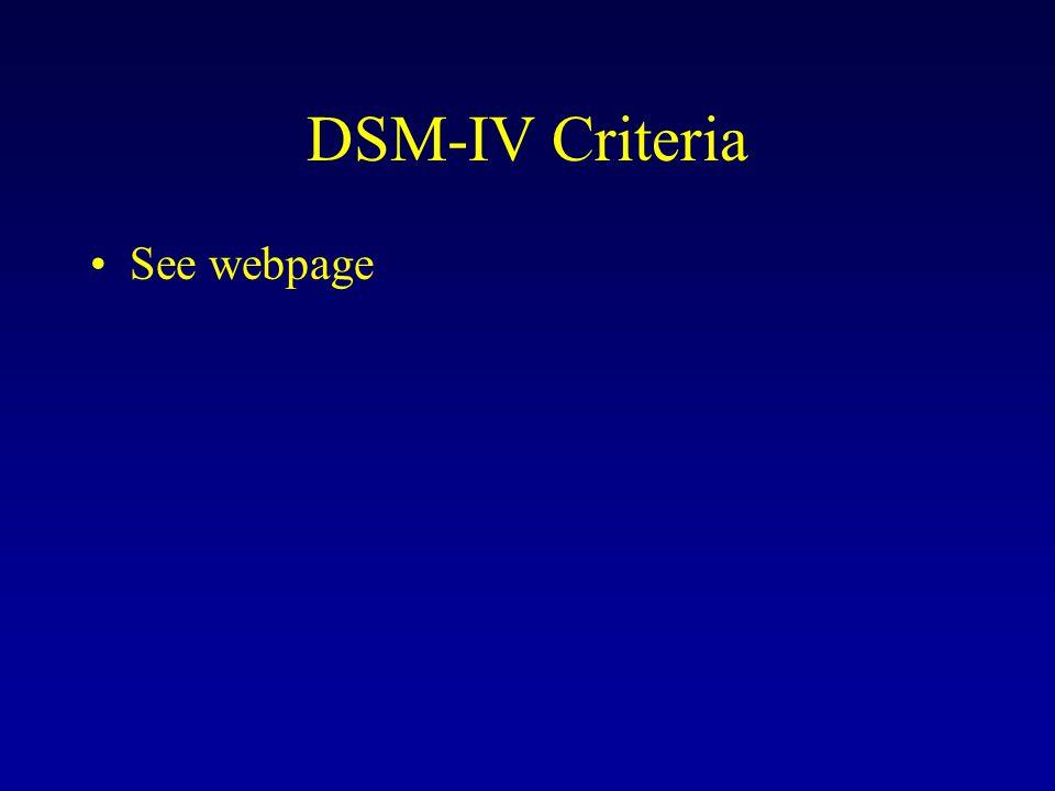 DSM-IV Criteria See webpage