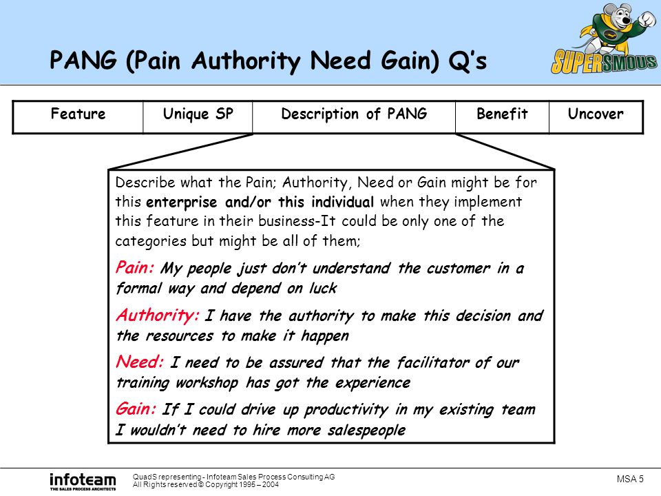 QuadS representing - Infoteam Sales Process Consulting AG All Rights reserved © Copyright 1995 – 2004 MSA 5 PANG (Pain Authority Need Gain) Q's FeatureUnique SPDescription of PANGBenefitUncover Describe what the Pain; Authority, Need or Gain might be for this enterprise and/or this individual when they implement this feature in their business-It could be only one of the categories but might be all of them; Pain: My people just don't understand the customer in a formal way and depend on luck Authority: I have the authority to make this decision and the resources to make it happen Need: I need to be assured that the facilitator of our training workshop has got the experience Gain: If I could drive up productivity in my existing team I wouldn't need to hire more salespeople