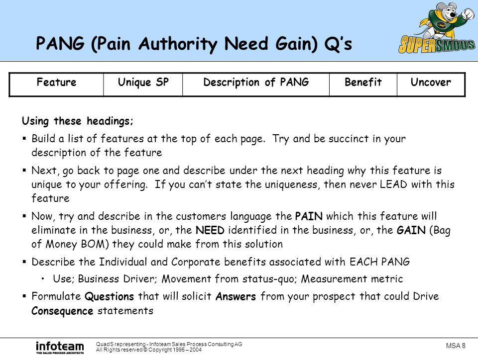 QuadS representing - Infoteam Sales Process Consulting AG All Rights reserved © Copyright 1995 – 2004 MSA 8 PANG (Pain Authority Need Gain) Q's Using these headings;  Build a list of features at the top of each page.