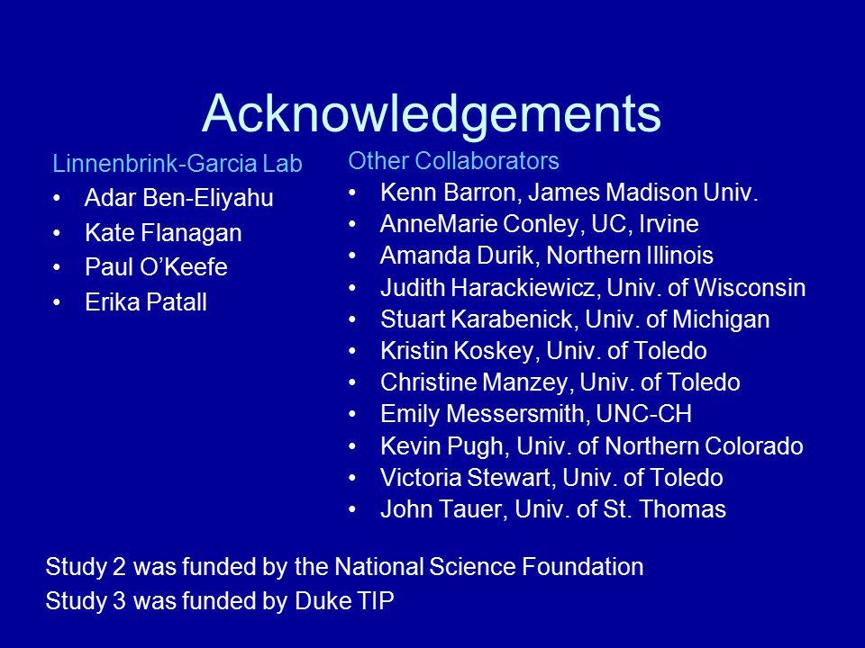 Acknowledgements Linnenbrink-Garcia Lab Adar Ben-Eliyahu Kate Flanagan Paul O'Keefe Erika Patall Other Collaborators Kenn Barron, James Madison Univ.