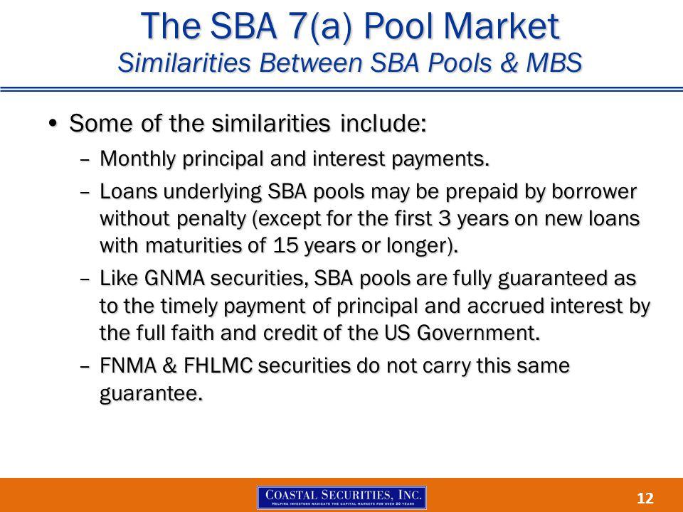 12 The SBA 7(a) Pool Market Similarities Between SBA Pools & MBS Some of the similarities include:Some of the similarities include: –Monthly principal