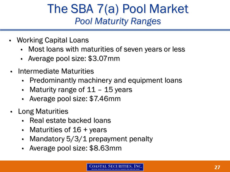 27 The SBA 7(a) Pool Market Pool Maturity Ranges Working Capital Loans Working Capital Loans Most loans with maturities of seven years or less Most loans with maturities of seven years or less Average pool size: $3.07mm Average pool size: $3.07mm Intermediate Maturities Intermediate Maturities Predominantly machinery and equipment loans Predominantly machinery and equipment loans Maturity range of 11 – 15 years Maturity range of 11 – 15 years Average pool size: $7.46mm Average pool size: $7.46mm Long Maturities Long Maturities Real estate backed loans Real estate backed loans Maturities of 16 + years Maturities of 16 + years Mandatory 5/3/1 prepayment penalty Mandatory 5/3/1 prepayment penalty Average pool size: $8.63mm Average pool size: $8.63mm