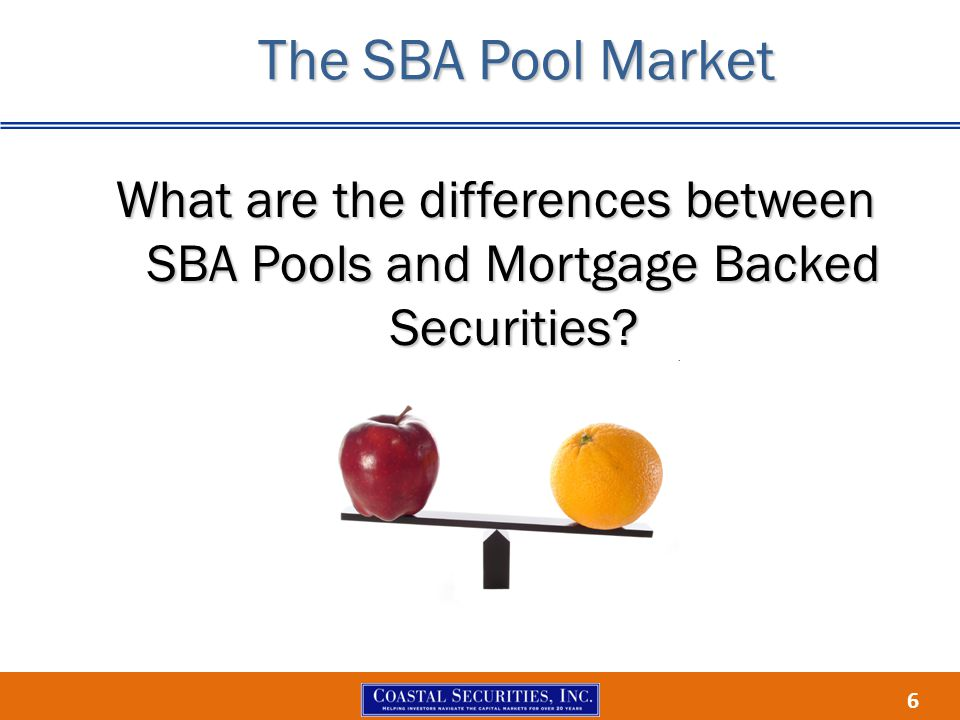 6 What are the differences between SBA Pools and Mortgage Backed Securities The SBA Pool Market
