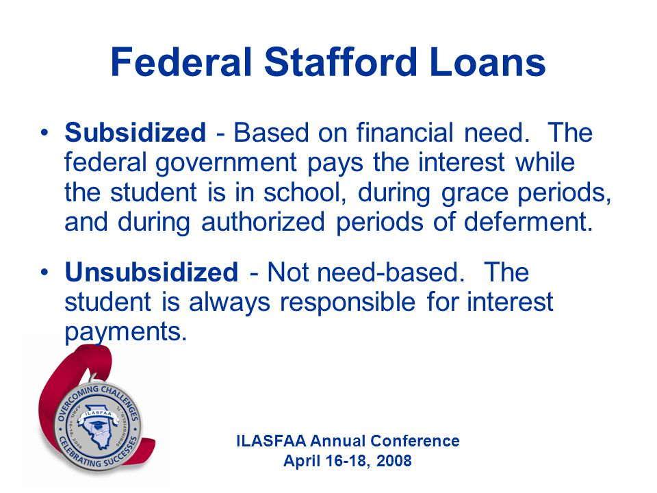 ILASFAA Annual Conference April 16-18, 2008 Federal Stafford Loans Subsidized - Based on financial need.