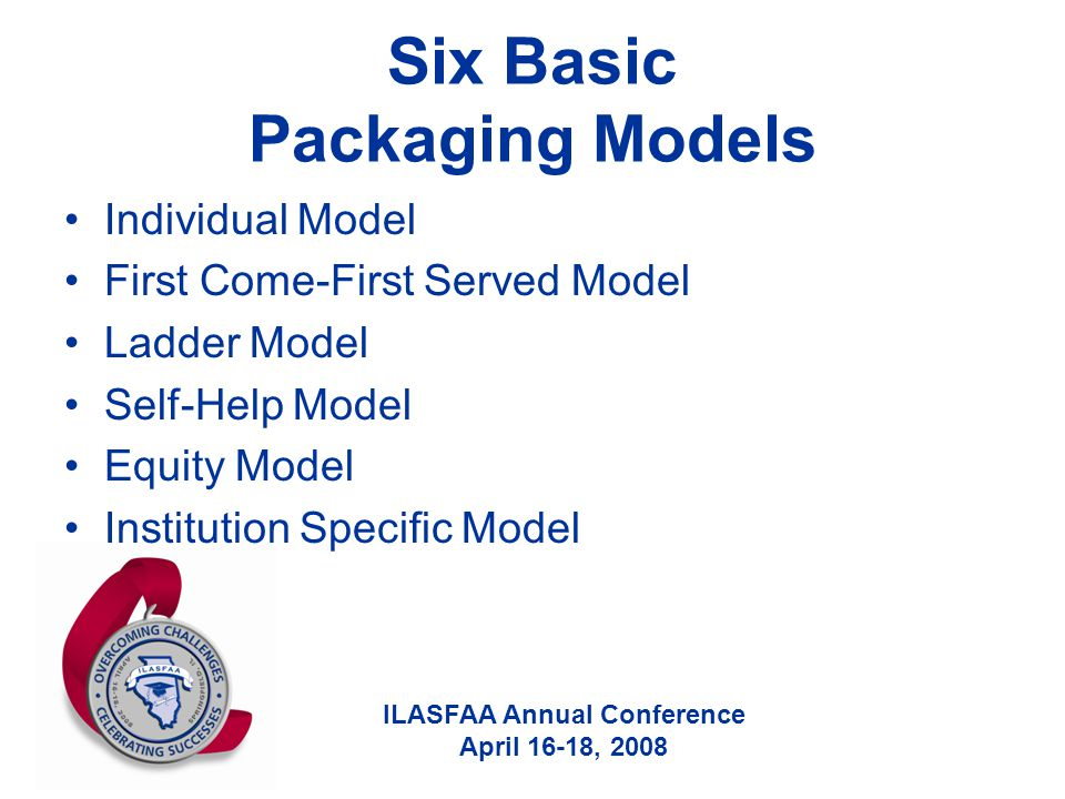 ILASFAA Annual Conference April 16-18, 2008 Six Basic Packaging Models Individual Model First Come-First Served Model Ladder Model Self-Help Model Equ