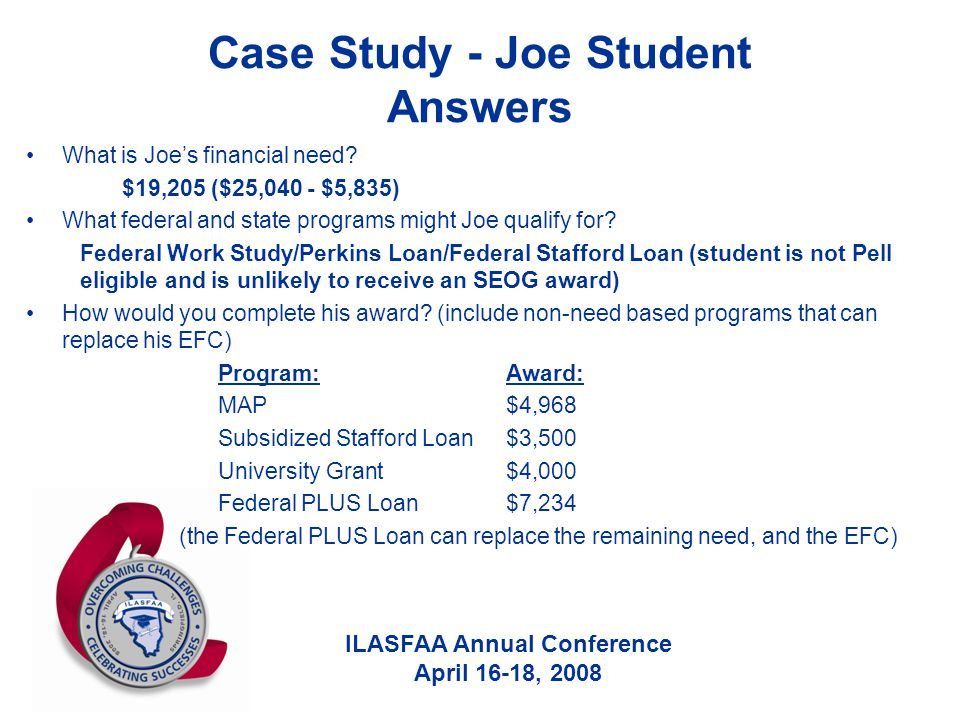 ILASFAA Annual Conference April 16-18, 2008 Case Study - Joe Student Answers What is Joe's financial need? $19,205 ($25,040 - $5,835) What federal and
