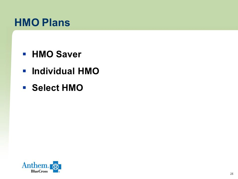 25 HMO Plans  HMO Saver  Individual HMO  Select HMO