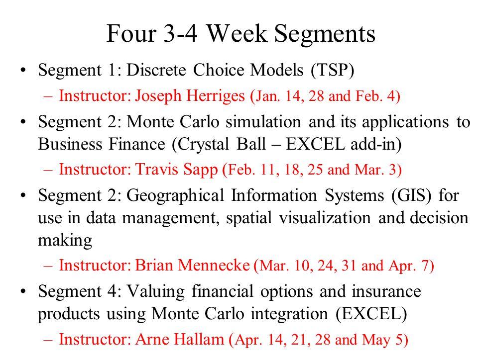 Four 3-4 Week Segments Segment 1: Discrete Choice Models (TSP) –Instructor: Joseph Herriges ( Jan.