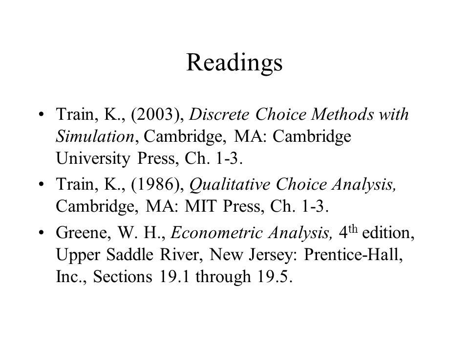 Readings Train, K., (2003), Discrete Choice Methods with Simulation, Cambridge, MA: Cambridge University Press, Ch.