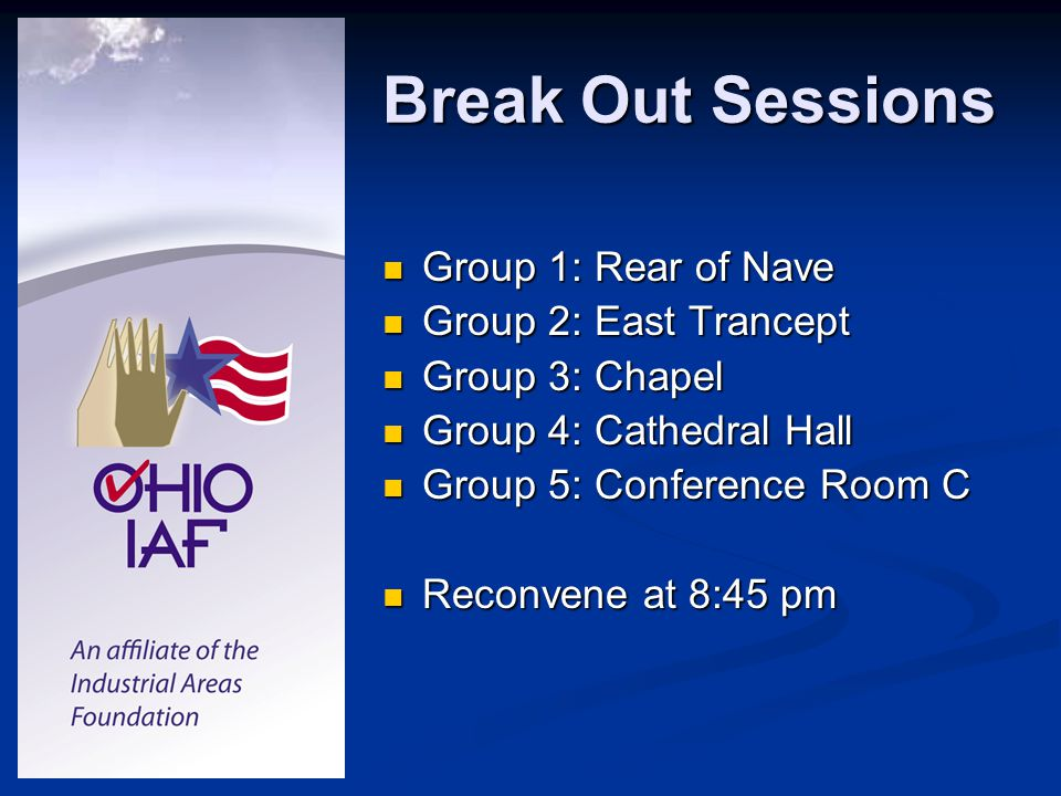 Break Out Sessions Group 1: Rear of Nave Group 1: Rear of Nave Group 2: East Trancept Group 2: East Trancept Group 3: Chapel Group 3: Chapel Group 4: