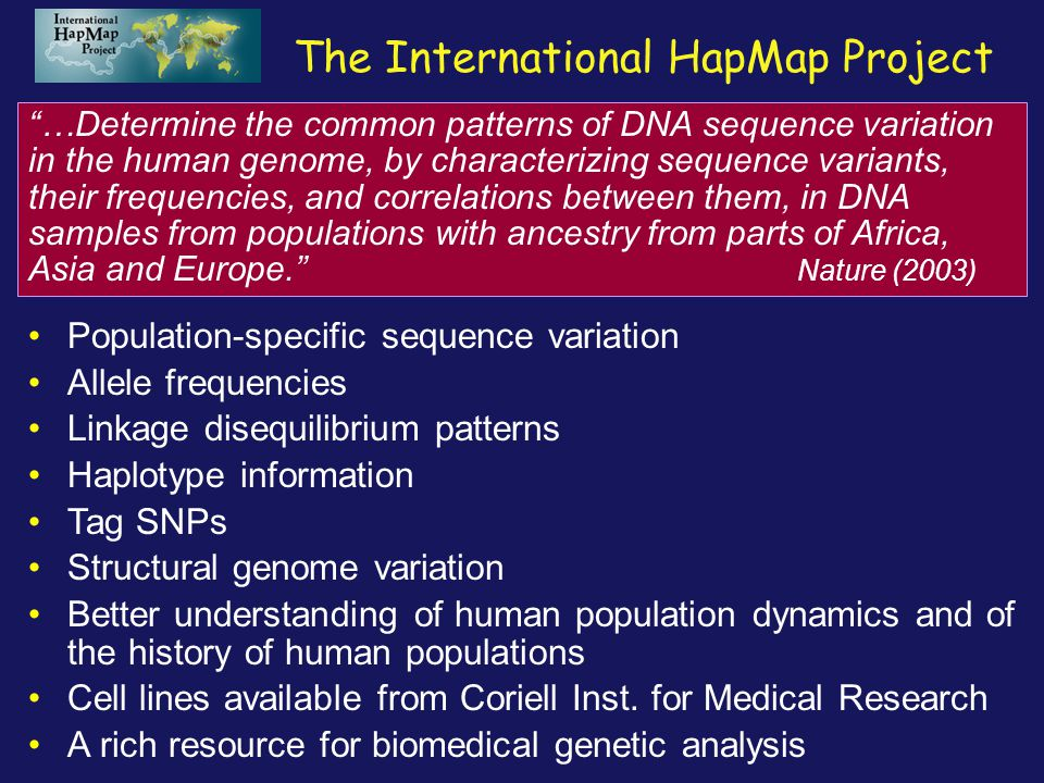 International HapMap Project Papers The Int.HapMap Consortium.