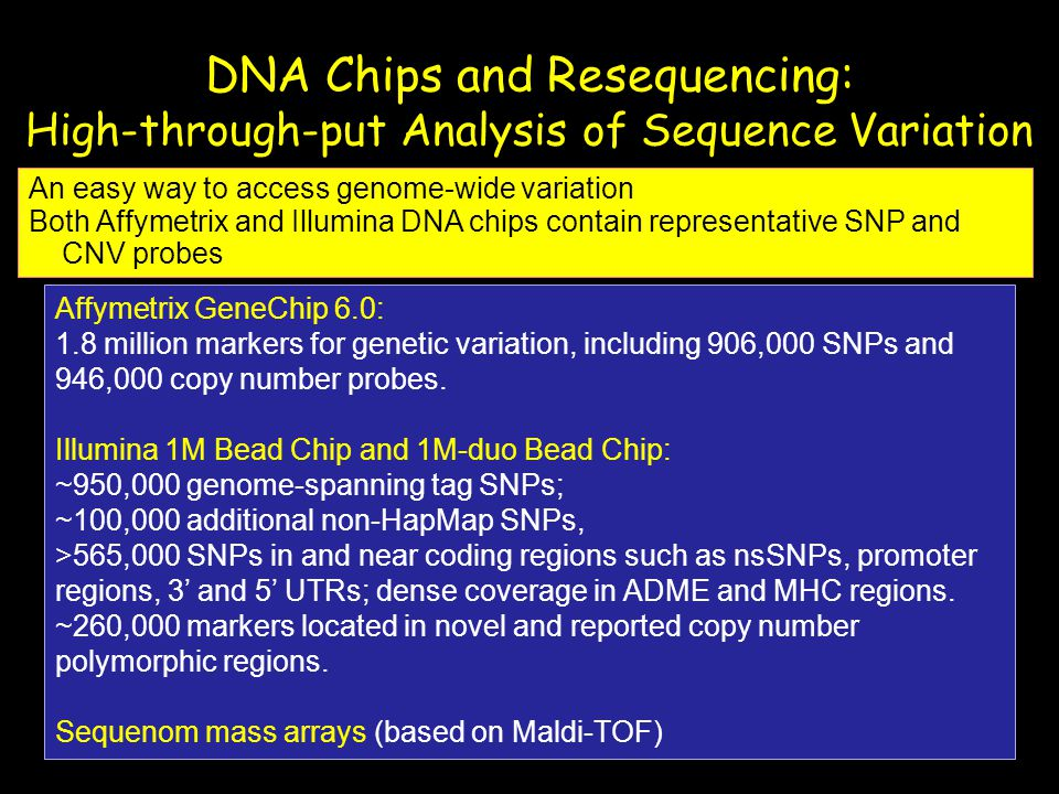 DNA Chips and Resequencing: High-through-put Analysis of Sequence Variation An easy way to access genome-wide variation Both Affymetrix and Illumina D