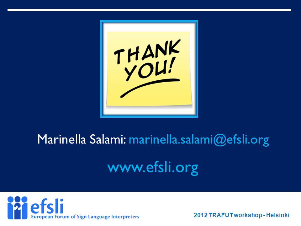 February 2012 www.efsli.org Marinella Salami: marinella.salami@efsli.org www.efsli.org