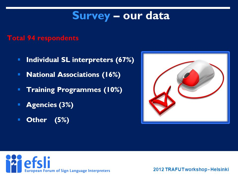 February 2012 www.efsli.org Survey – our data Total 94 respondents  Individual SL interpreters (67%)  National Associations (16%)  Training Programmes (10%)  Agencies (3%)  Other (5%)