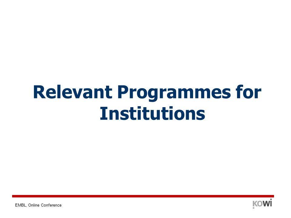 EMBL, Online Conference Relevant Programmes for Institutions