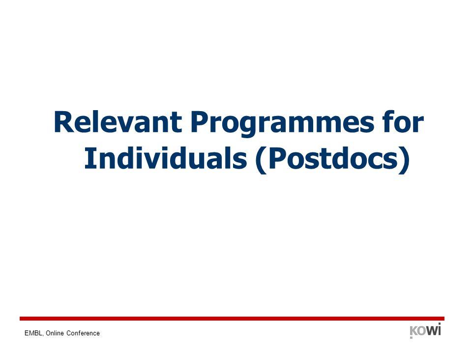 EMBL, Online Conference Relevant Programmes for Individuals (Postdocs)