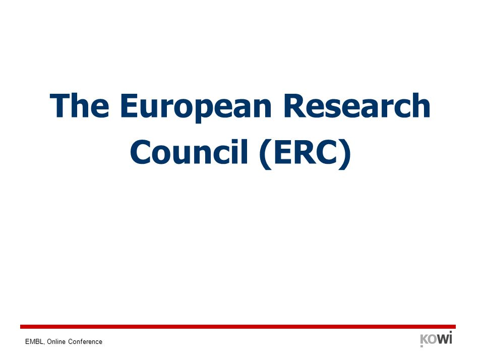 EMBL, Online Conference The European Research Council (ERC)
