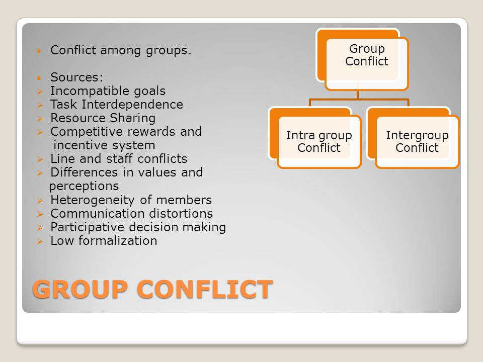 GROUP CONFLICT Conflict among groups. Sources:  Incompatible goals  Task Interdependence  Resource Sharing  Competitive rewards and incentive syst