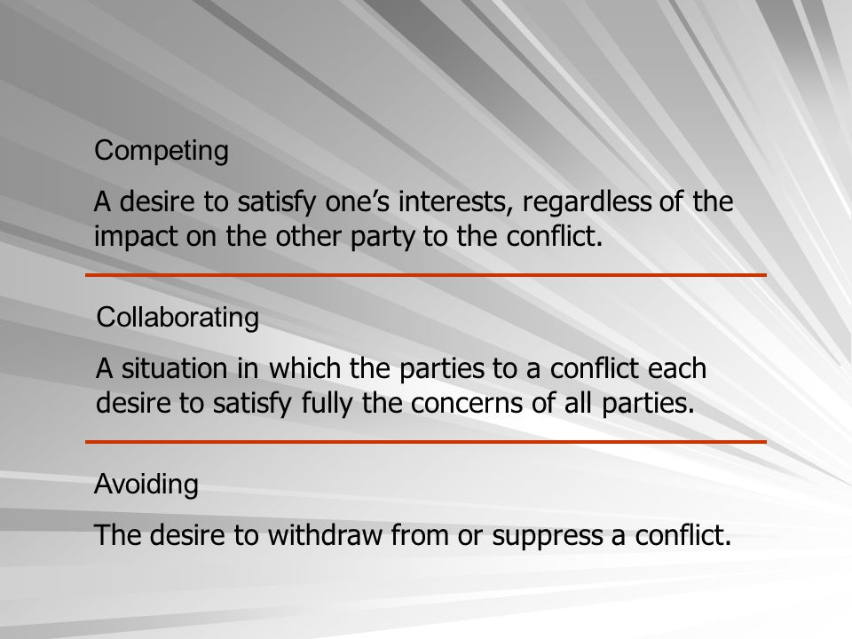 Competing A desire to satisfy one's interests, regardless of the impact on the other party to the conflict. Collaborating A situation in which the par