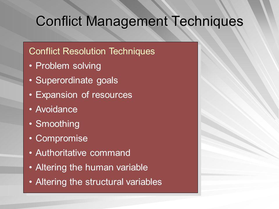 Conflict Management Techniques Conflict Resolution Techniques Problem solving Superordinate goals Expansion of resources Avoidance Smoothing Compromis