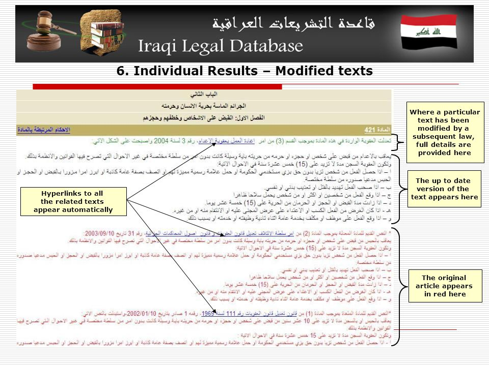 6. Individual Results – Modified texts The original article appears in red here The up to date version of the text appears here Where a particular tex