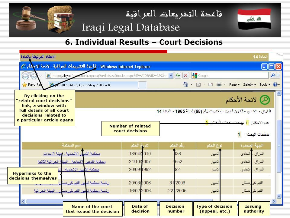 """6. Individual Results – Court Decisions By clicking on the """"related court decisions"""" link, a window with full details of all court decisions related t"""