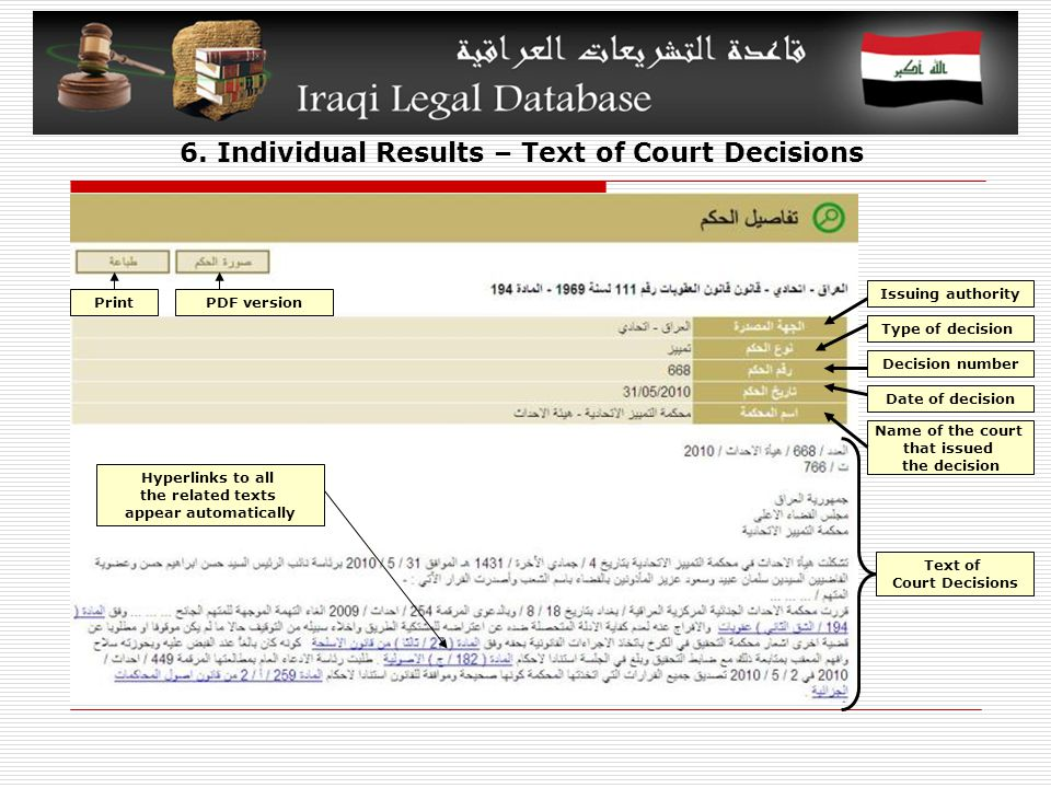 6. Individual Results – Text of Court Decisions Type of decision Issuing authority Decision number Date of decision Name of the court that issued the