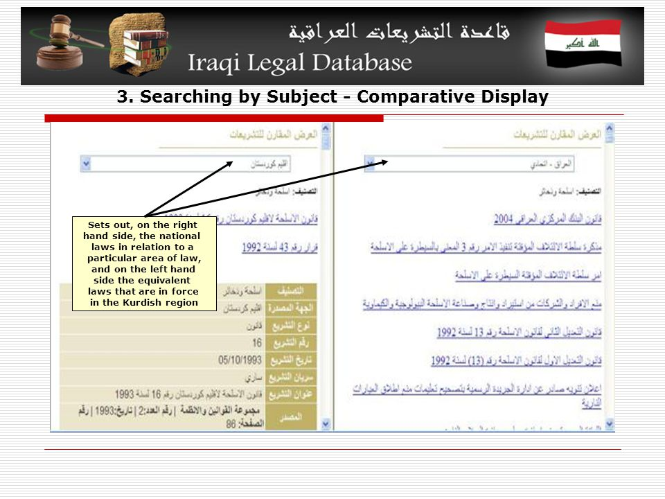 3. Searching by Subject - Comparative Display Sets out, on the right hand side, the national laws in relation to a particular area of law, and on the