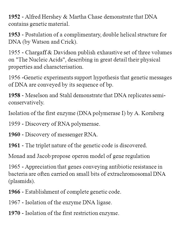 1952 - Alfred Hershey & Martha Chase demonstrate that DNA contains genetic material. 1953 - Postulation of a complimentary, double helical structure f
