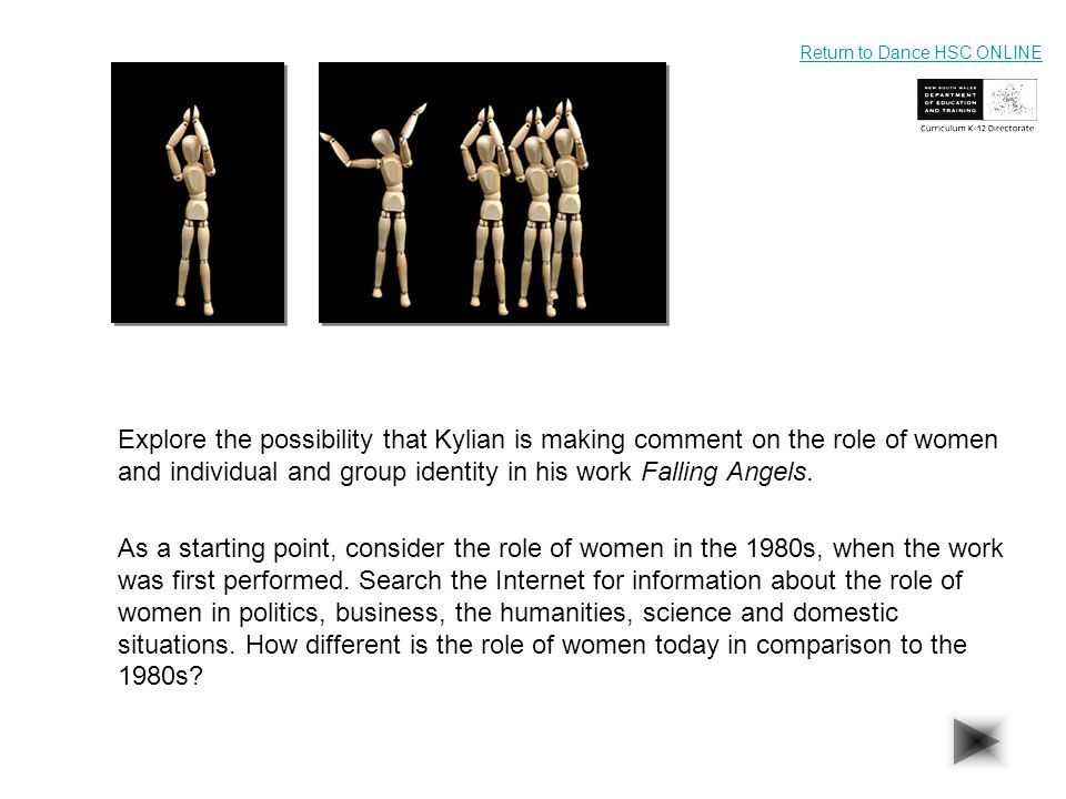 Explore the possibility that Kylian is making comment on the role of women and individual and group identity in his work Falling Angels. As a starting