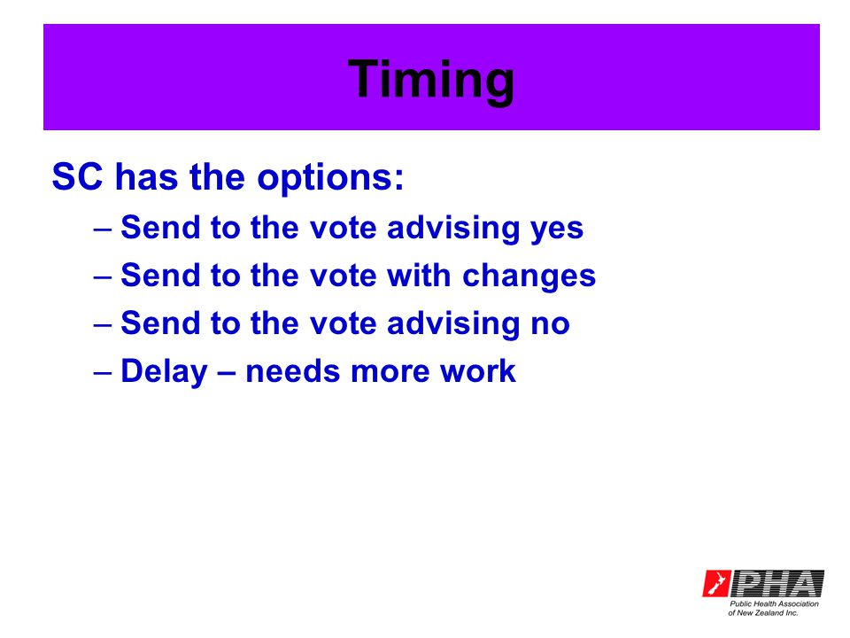 Timing SC has the options: –Send to the vote advising yes –Send to the vote with changes –Send to the vote advising no –Delay – needs more work