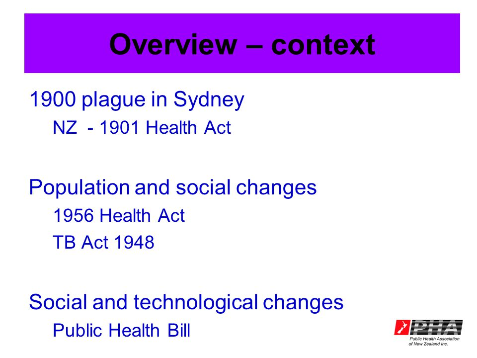Overview – context 1900 plague in Sydney NZ - 1901 Health Act Population and social changes 1956 Health Act TB Act 1948 Social and technological changes Public Health Bill