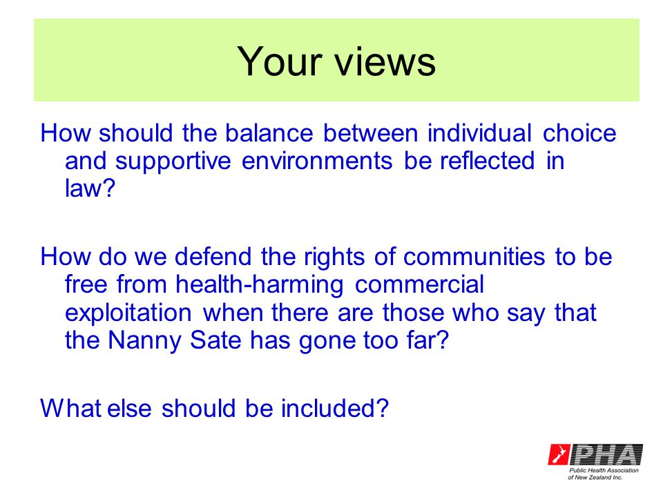 Your views How should the balance between individual choice and supportive environments be reflected in law.
